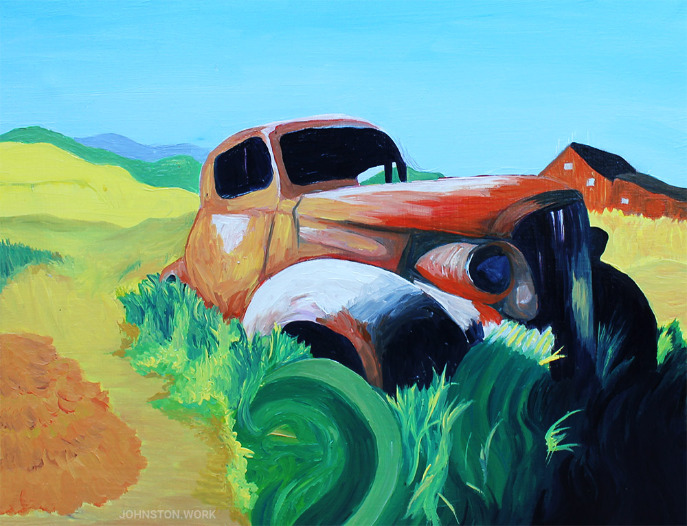 Abandoned Car Painting by J.J. Johnston