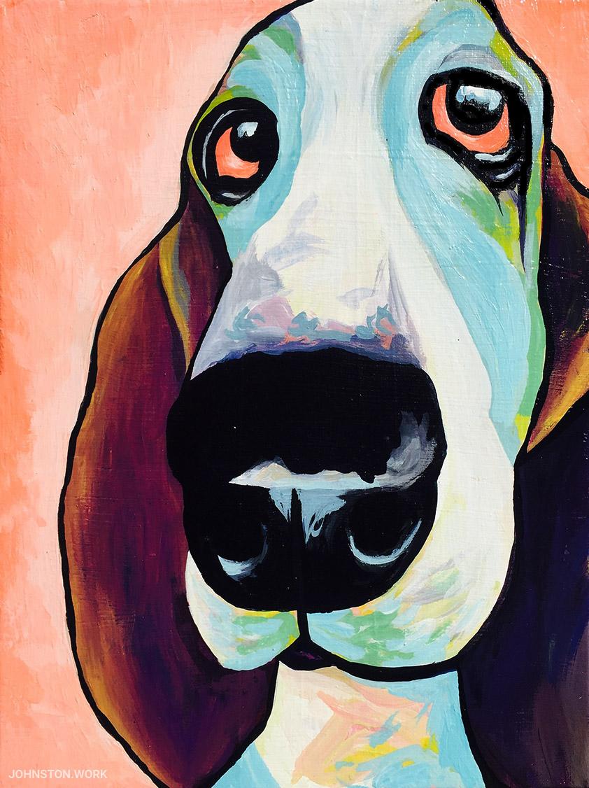 Basset Hound Profile Painting by J.J. Johnston