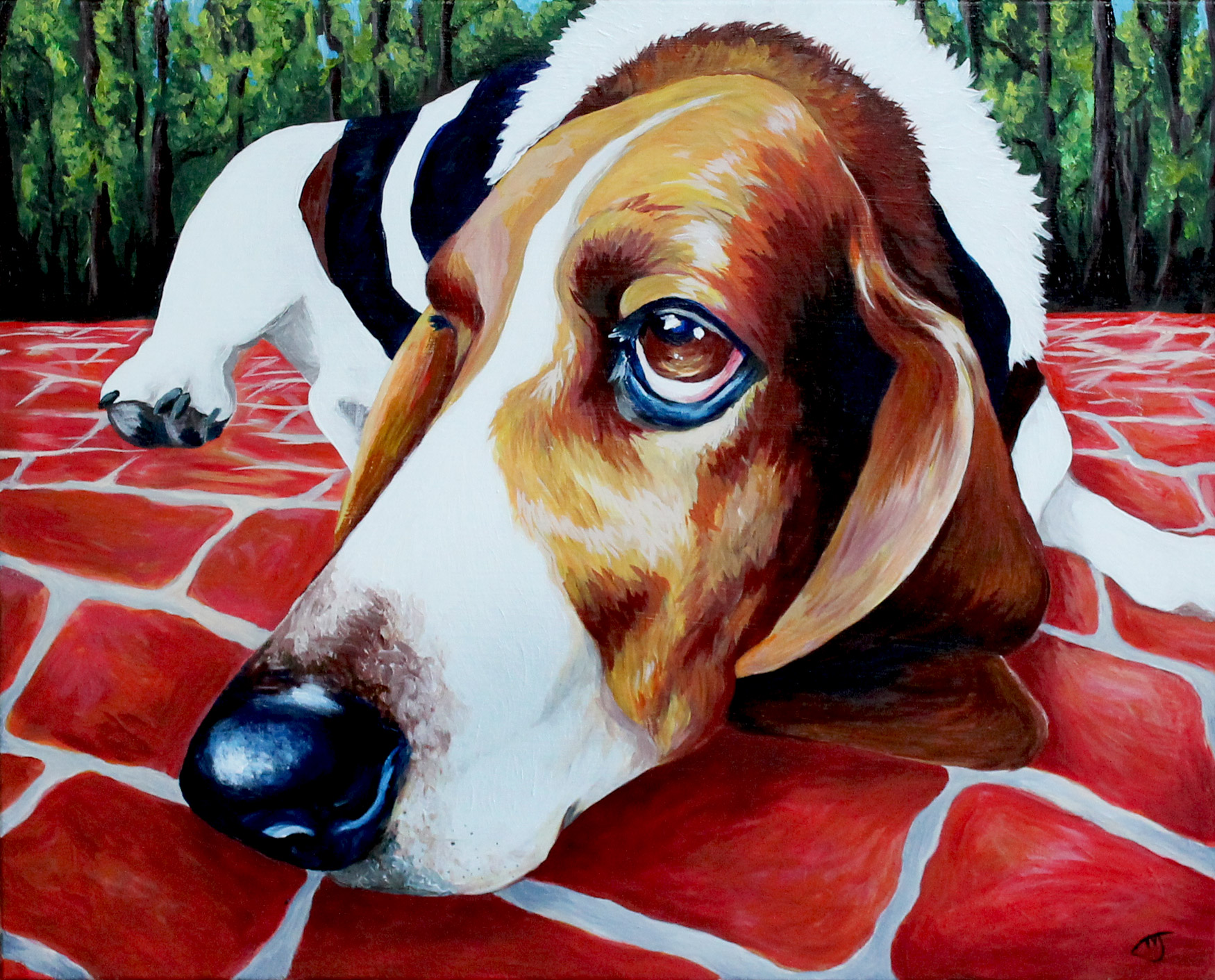 "Award wining painting titled ""The Face of Love"" Basset Hound Painting by Jessica J. Johnston"