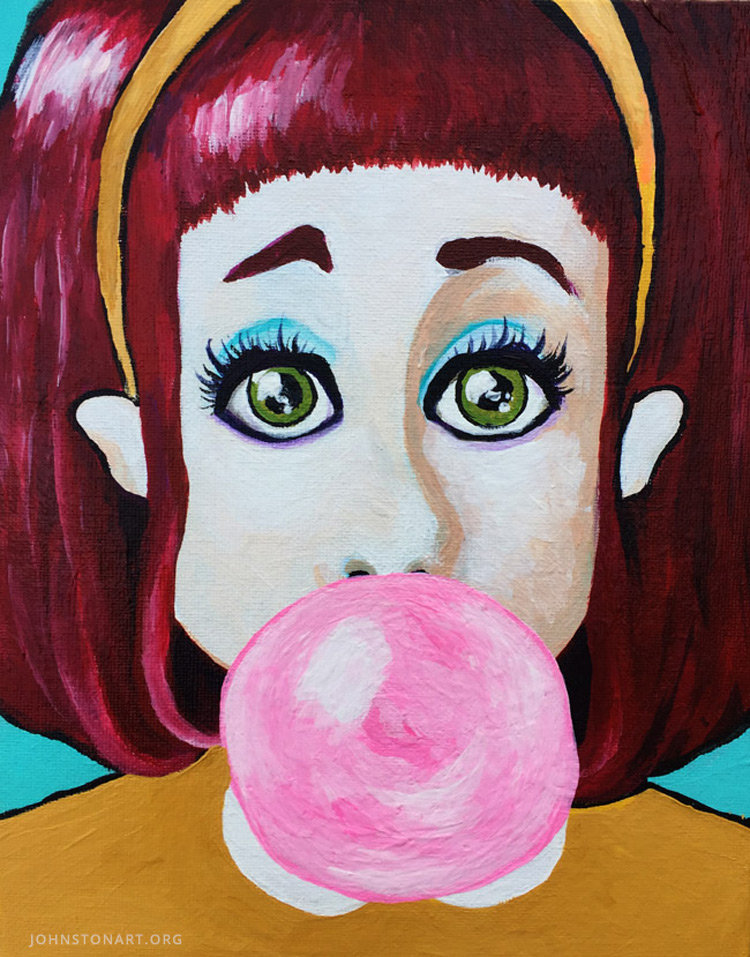 Bubblegum Pink painting Acrylic on Canvas by Jessica J. Johnston