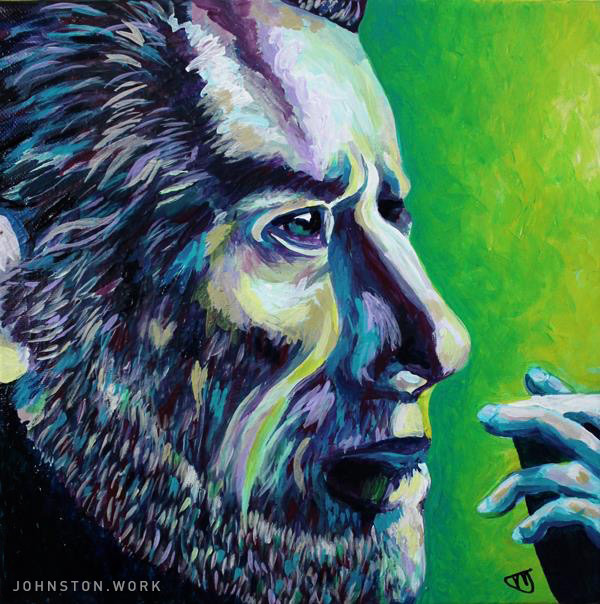 Portrait of Charles Bukowski painting