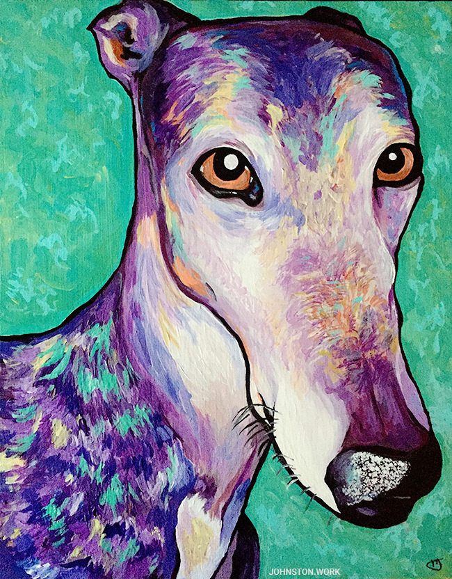 Greyhound Painting Pet Portrait by J.J. Johnston
