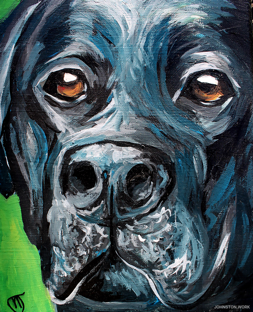 Tex the dog painting by J.J. Johnston
