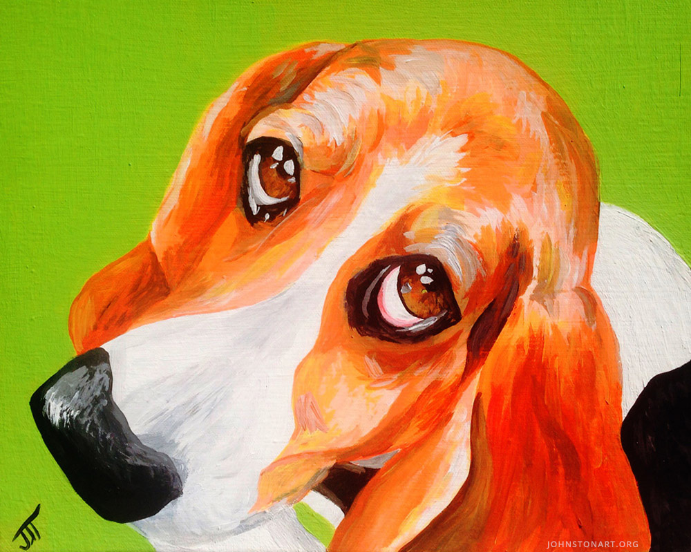 Moose the Basset Hound Painting by J.J. Johnston