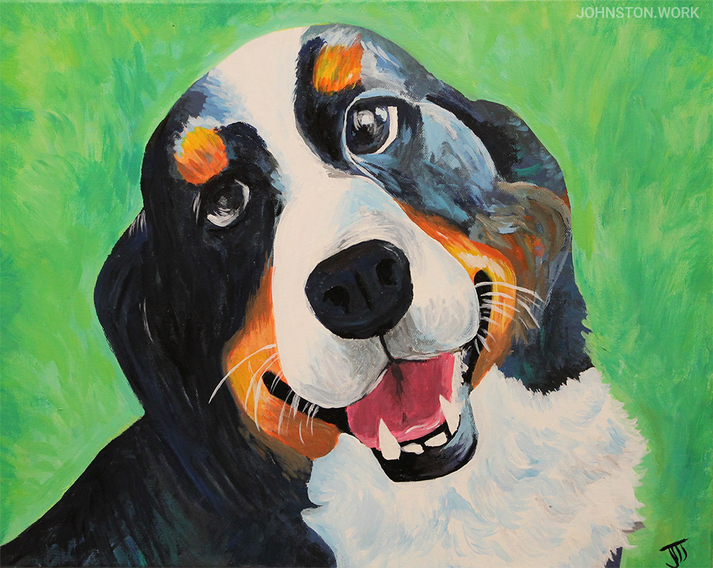 Bernese Mountain Dog Custom Pet Portrait by J.J. Johnston