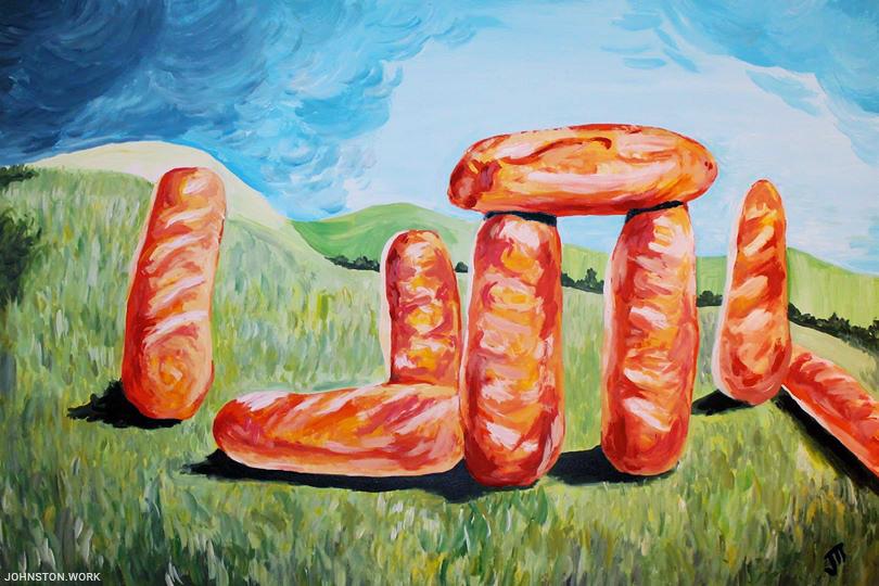Breadhenge Acrylic Painting by JJ Johnston