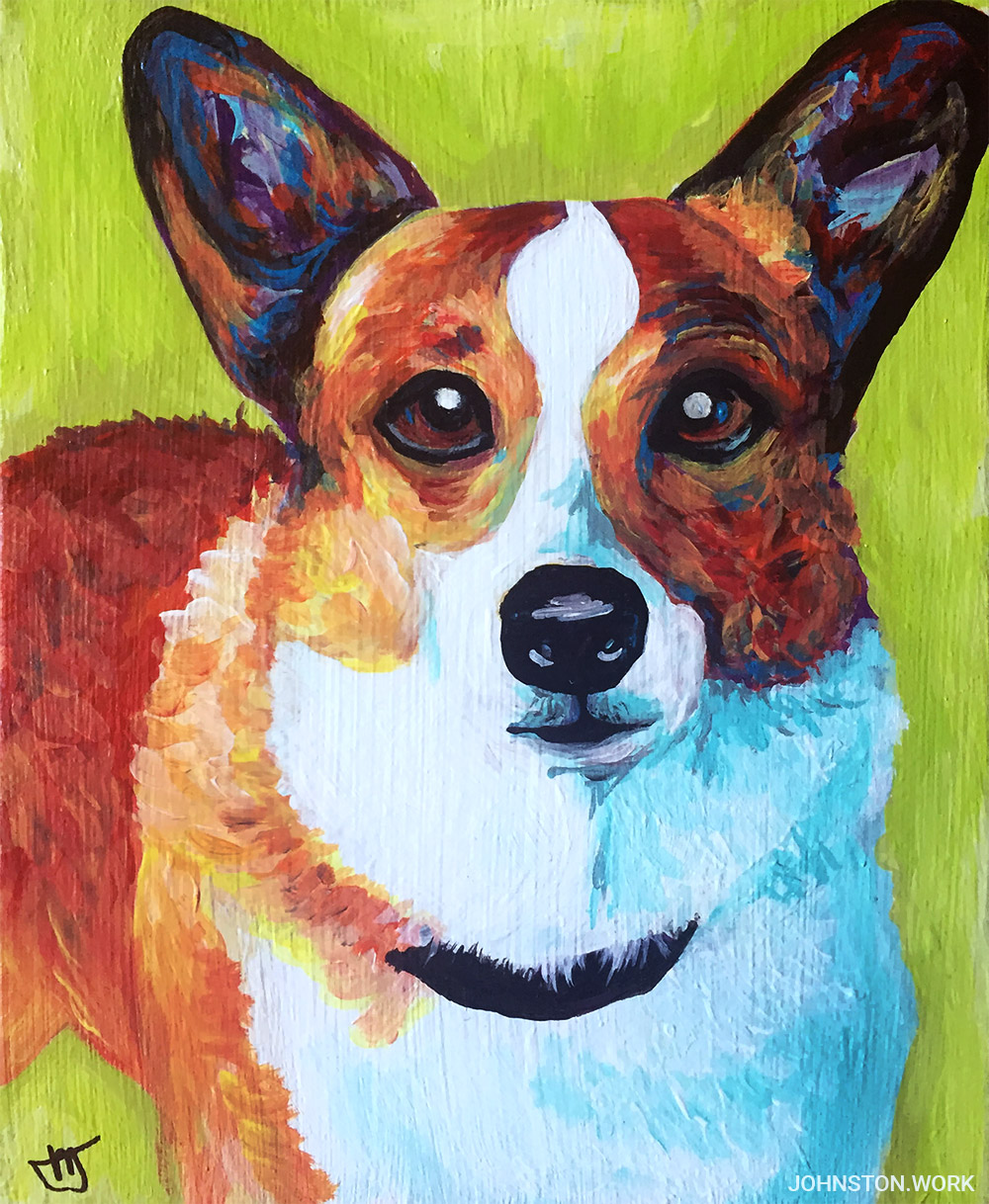 Corgi Custom Pet Portrait by J.J. Johnston