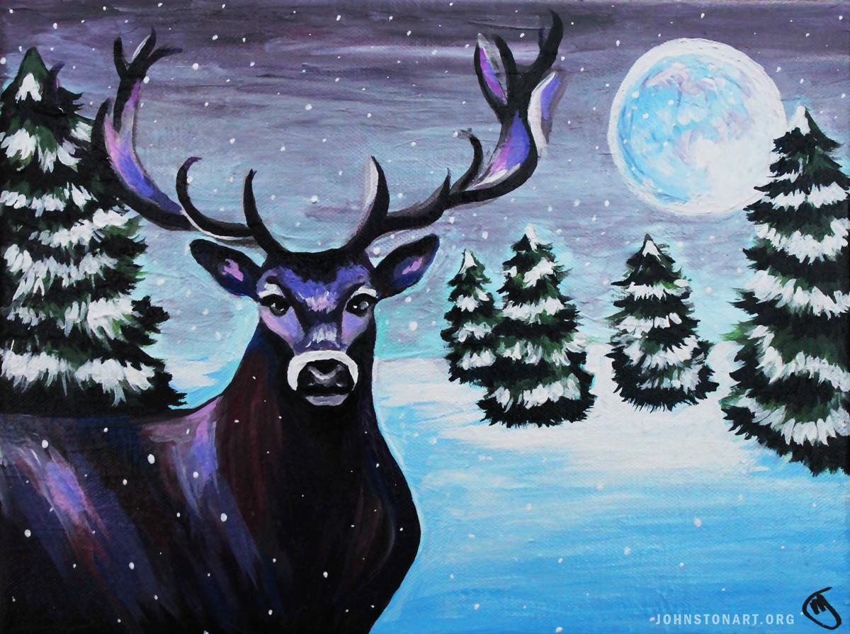 Deer in Snow Landscape Acrylic Painting by Jessica J. Johnston