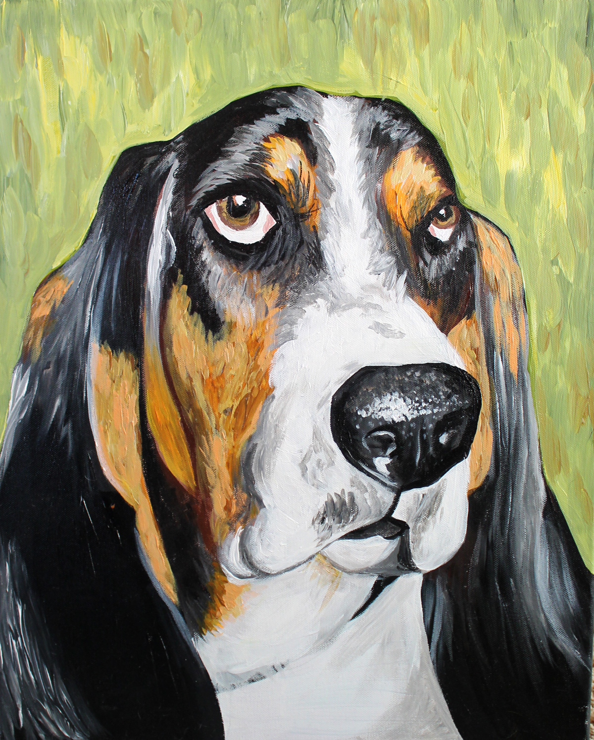 Eddie the Basset Hound painting