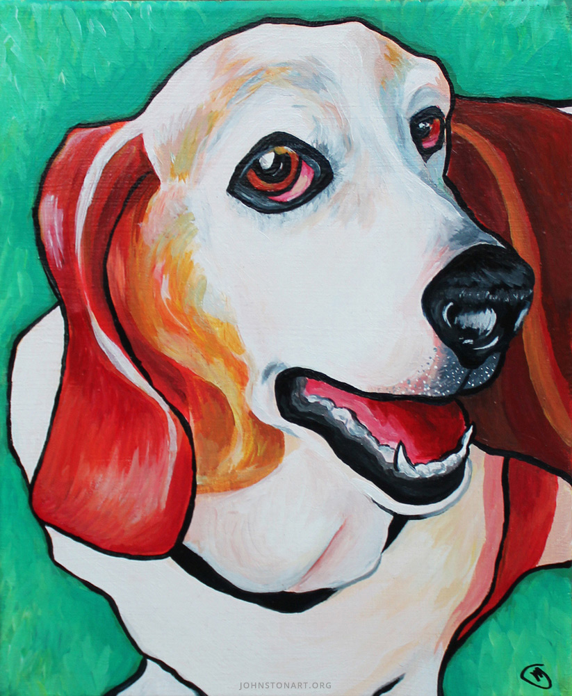 Lucy the Basset Hound painting