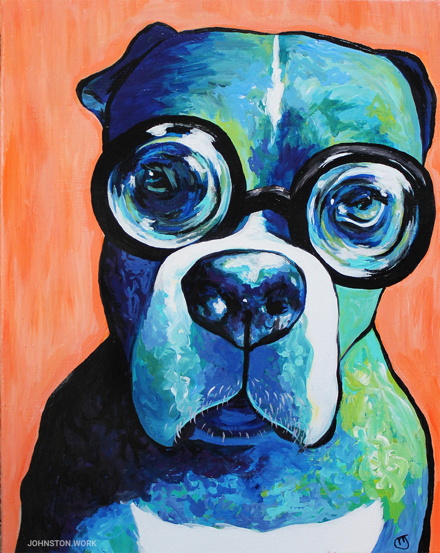 Nico the boxer dog painting custom pet portrait by j.j. johnston